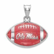 Mississippi Rebels Sterling Silver Enameled Football Pendant