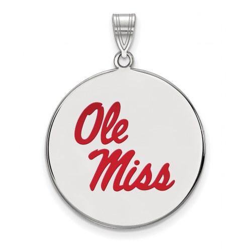 Mississippi Rebels Sterling Silver Extra Large Enameled Disc Pendant
