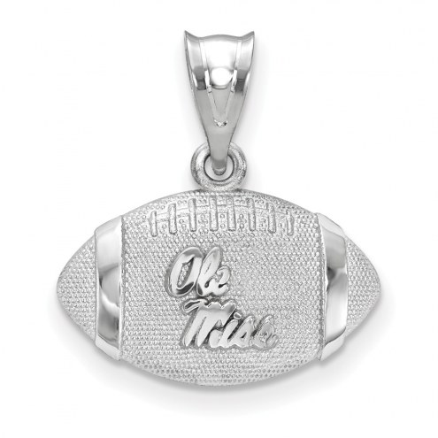 Mississippi Rebels Sterling Silver Football with Logo Pendant