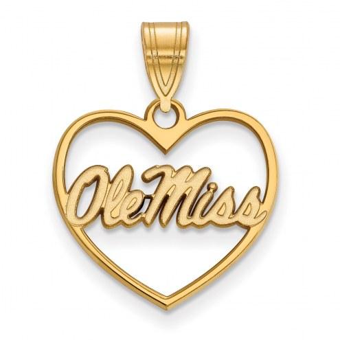 Mississippi Rebels Sterling Silver Gold Plated Heart Pendant