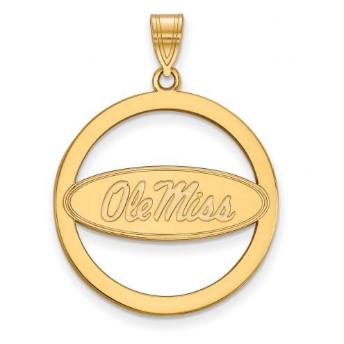 Mississippi Rebels Sterling Silver Gold Plated Large Circle Pendant