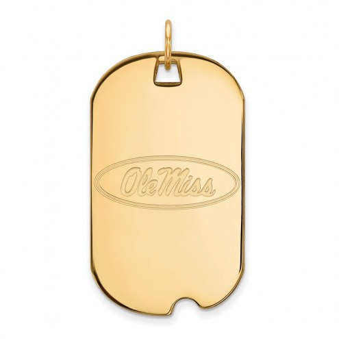 Mississippi Rebels Sterling Silver Gold Plated Large Dog Tag
