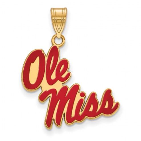 Mississippi Rebels Sterling Silver Gold Plated Large Enameled Pendant