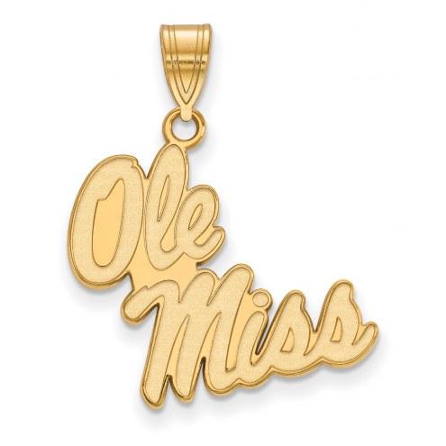 Mississippi Rebels Sterling Silver Gold Plated Large Pendant