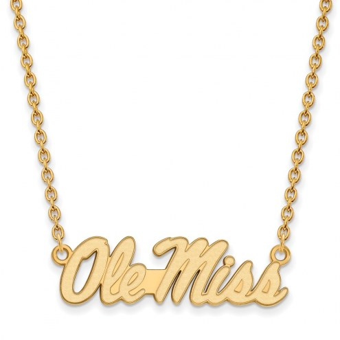 Mississippi Rebels Sterling Silver Gold Plated Large Pendant Necklace