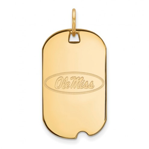 Mississippi Rebels Sterling Silver Gold Plated Small Dog Tag
