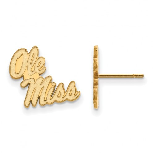 Mississippi Rebels Sterling Silver Gold Plated Small Post Earrings