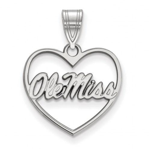 Mississippi Rebels Sterling Silver Heart Pendant