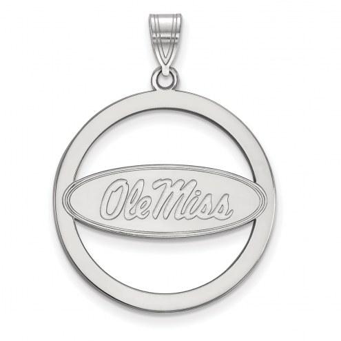 Mississippi Rebels Sterling Silver Large Circle Pendant