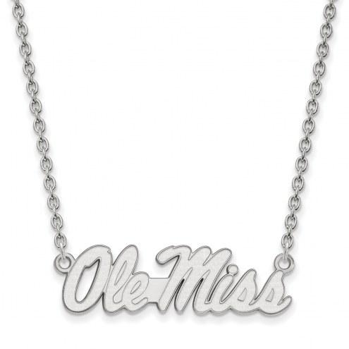 Mississippi Rebels Sterling Silver Large Pendant Necklace