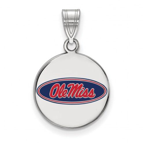 Mississippi Rebels Sterling Silver Medium Enameled Disc Pendant