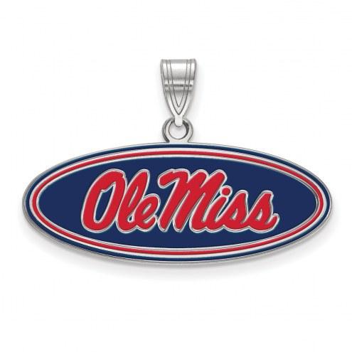Mississippi Rebels Sterling Silver Medium Enameled Pendant