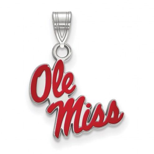 Mississippi Rebels Sterling Silver Small Enamel Pendant