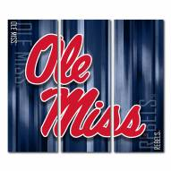 Mississippi Rebels Triptych Rush Canvas Wall Art