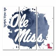 Mississippi Rebels Triptych Watercolor Canvas Wall Art