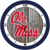 Mississippi Rebels Weathered Wood Wall Clock