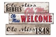 Mississippi Rebels Welcome 3 Plank Sign