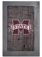 """Mississippi State Bulldogs 11"""" x 19"""" City Map Framed Sign"""