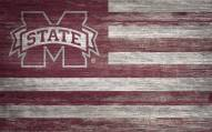 """Mississippi State Bulldogs 11"""" x 19"""" Distressed Flag Sign"""