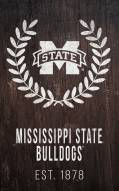 """Mississippi State Bulldogs 11"""" x 19"""" Laurel Wreath Sign"""