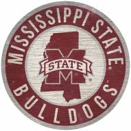 """Mississippi State Bulldogs 12"""" Circle with State Sign"""