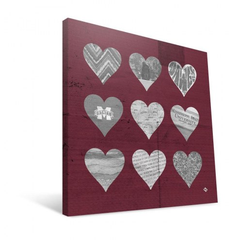 """Mississippi State Bulldogs 12"""" x 12"""" Hearts Canvas Print"""