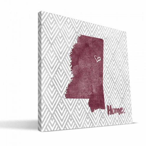 """Mississippi State Bulldogs 12"""" x 12"""" Home Canvas Print"""