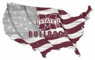 """Mississippi State Bulldogs 15"""" USA Flag Cutout Sign"""