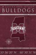 """Mississippi State Bulldogs 17"""" x 26"""" Coordinates Sign"""