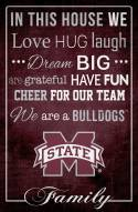 """Mississippi State Bulldogs 17"""" x 26"""" In This House Sign"""