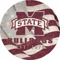 """Mississippi State Bulldogs 24"""" Team Color Flag Circle Sign"""