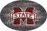 """Mississippi State Bulldogs 46"""" Distressed Wood Oval Sign"""