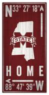 """Mississippi State Bulldogs 6"""" x 12"""" Coordinates Sign"""