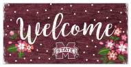 """Mississippi State Bulldogs 6"""" x 12"""" Floral Welcome Sign"""