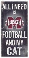 """Mississippi State Bulldogs 6"""" x 12"""" Football & My Cat Sign"""
