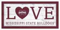 """Mississippi State Bulldogs 6"""" x 12"""" Love Sign"""