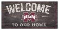 """Mississippi State Bulldogs 6"""" x 12"""" Welcome Sign"""