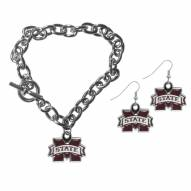 Mississippi State Bulldogs Chain Bracelet & Dangle Earring Set