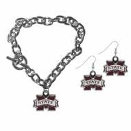 Mississippi State Bulldogs Chain Bracelet & Dangle Earring Set
