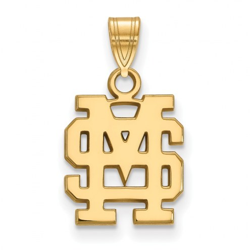 Mississippi State Bulldogs Sterling Silver Gold Plated Small Pendant