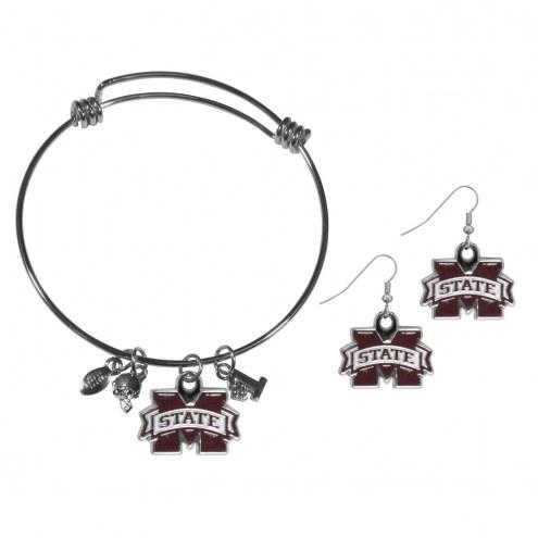 Mississippi State Bulldogs Dangle Earrings & Charm Bangle Bracelet Set
