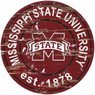 Mississippi State Bulldogs Distressed Round Sign