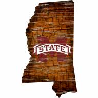 Mississippi State Bulldogs Distressed State with Logo Sign