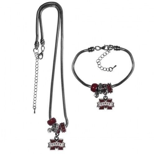 Mississippi State Bulldogs Euro Bead Necklace & Bracelet Set