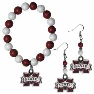 Mississippi State Bulldogs Fan Bead Earrings & Bracelet Set