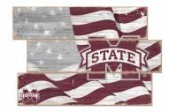 Mississippi State Bulldogs Flag 3 Plank Sign