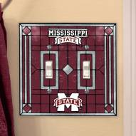 Mississippi State Bulldogs Glass Double Switch Plate Cover