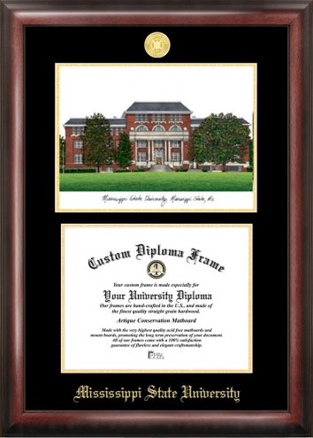 Mississippi State Bulldogs Gold Embossed Diploma Frame with Lithograph