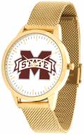 Mississippi State Bulldogs Gold Mesh Statement Watch