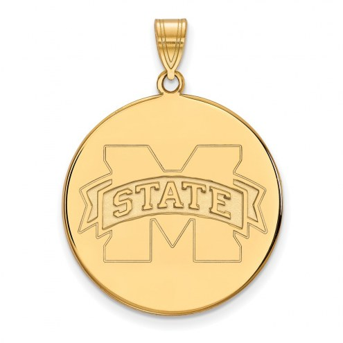 Mississippi State Bulldogs Sterling Silver Gold Plated Extra Large Disc Pendant